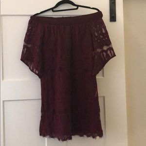 Maroon off the shoulder lace dress